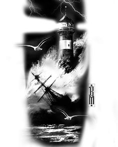Latest design available Please respect my time and effort dont copy !!! #tattoo#design #digitalpainting #realismtattoo #tattoos #ship #lighthouse #storm #worldfamousink #killerinktattoo #photoshop #bristol #avontattoo