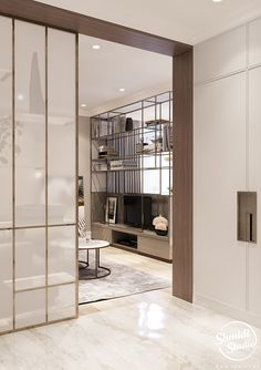 Light and soft interior of studio apartment in Minsk. Dream House Interior, Best Interior, Luxury Interior, Living Room Partition Design, Room Partition Designs, Garderobe Design, Showroom Interior Design, Sliding Door Design, Japanese Interior