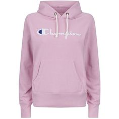 Champion Logo Embroidered Hoodie ($125) ❤ liked on Polyvore featuring tops, hoodies, thick hooded sweatshirt, hooded sweatshirt, cotton hoodie, pink hooded sweatshirt and cotton hooded sweatshirt
