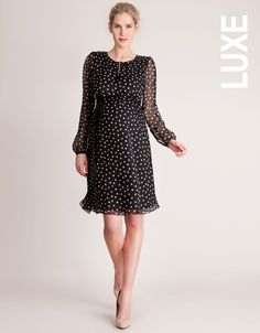This luxurious maternity dress is a favourite of Crown Princess Victoria of Sweden!Black & White Polka Dot Silk Maternity Dress >>> www.seraphine.com
