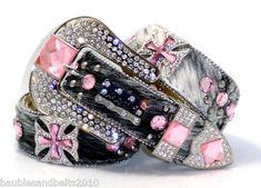 BHW Western Cowgirl Brindle Pink Maltese Cross Concho Rhinestone Belt s M L XL | eBay