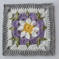 Crochet Motifs, Granny Square Crochet Pattern, Crochet Flower Patterns, Crochet Stitches Patterns, Crochet Flowers, Knitting Patterns, Flower Granny Square, Crochet Square Blanket, Crochet Squares Afghan
