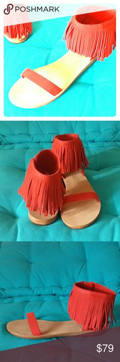 Kate Spade New York Red Fringe Sandals 7.5 Adorable Kate Spade sandals in soft suede cherry red, Size 7.5. New with scratches on insoles...hence the low price. ;) kate spade Shoes Sandals