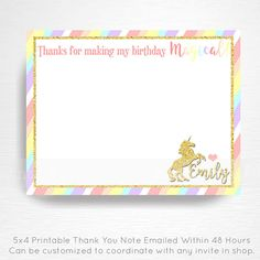 Unicorn Birthday Party Printable Thank You Notes YOU Print Pastel Rainbow Gold  This is an emailed file, nothing will be shipped to you. Please include your childs name in the notes to seller section at checkout.  We will email your high-resolution, print-ready file within 48 hours of receiving your purchase.  Your invite will be formatted to print 5x4 unless otherwise requested.  This listing does not include color changes or printing. If youre interested in either of these options, please…