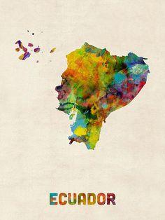Ecuador Watercolor Map Poster By Michael Tompsett