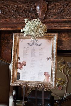 beautiful seating chart with gold frame and flowers {Photography By / adrianphotography.ca, Wedding Day Coordination By / truedevotion.ca}