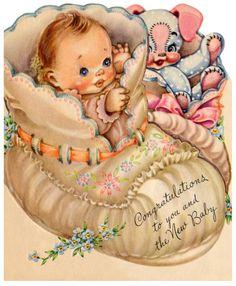 Vintage new baby congratulations card.