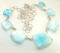 $220.50 Magical Sky Blue Larimar Sterling Silver necklace at www.SilverRushStyle.com #necklace #handmade #jewelry #silver #larimar