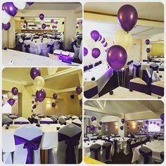A Cadbury purple set up with balloon clusters as centerpieces. A very popular colour with brides #nicheevents #nichewedding #nichestylists #all_shots #bride #bridetobe #chaircovers #cadburypurple #engaged #follow #follow4follow #followforfollow #gettingma