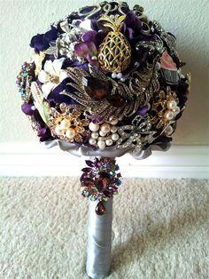 Purple Brooch Heirloom Wedding Bouquet