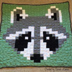 Crochet Raccoon Pixel Blanket by sarah.townsend09 - Pattern: https://www.pinterest.com/pin/374291419003535719/
