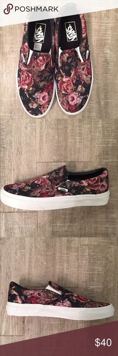 "Brand New Vans Slip-On ""Moody Floral"" color Brand new with box! Floral Print with vans off the wall heel tag and gum sole bottom Vans Shoes Sneakers"