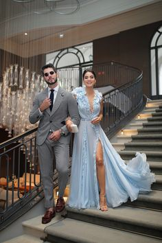 Gala Dresses, Event Dresses, Wedding Party Dresses, Blue Dresses, Couple Outfits, Dress Outfits, Fashion Dresses, Fashion Clothes, Types Of Dresses