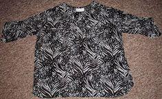 Oleg Cassini Woman Shell Blouse Women's Plus 1X Sheer Zebra Print Two Pocket Top…