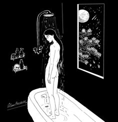 Sad Things Alone In The Dark, Moon Drawing, Black And White Wallpaper, Night Vale, Black And White Illustration, Sad Girl, Girls Club, Flower Backgrounds, Feelings