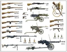 Soviet infantry weapons of WWII, many of which were found in Vietnam by U. Military Weapons, Military Art, Military History, Ww2 Weapons, Red Army, Military Equipment, Panzer, War Machine, Machine Guns