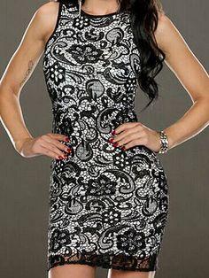 Retro Black Lace Spliced Sleeveless Bodycon Dress