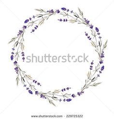 wreath, lavender, watercolor