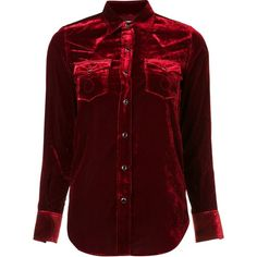 Saint Laurent velvet western shirt (7,420 GTQ) ❤ liked on Polyvore featuring shirts, red and yves saint laurent