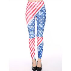 Choies Multi American Flag Pattern High Waist Stretchy Leggings ($13) ❤ liked on Polyvore featuring pants, leggings, multi, white leggings, high rise leggings, white pants, american flag print leggings and print pants