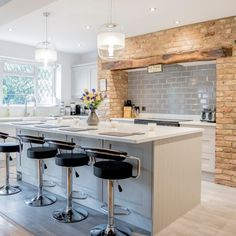 Installed July 2017 Carrera quartz installed on worktops, island, upstands and windowsill in the beautiful traditional style kitchen by Ktchns Ltd Kitchen Worktop, Kitchen Island, Hemel Hempstead, Work Tops, Exposed Brick, Traditional Kitchen, Window Sill, Brick Wall, Country Style