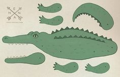 Other – diy crocodile paper card by enna – a unique product by enna on DaWanda
