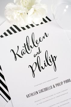 Modern, romantic and classic black and white striped calligraphy wedding invitations with a DIY striped envelope liner!   | Shine Wedding Invitations
