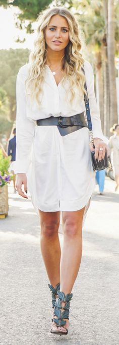 Casual Spring Outfit: Janni Deler is wearing a very long white shirt, with a wide black belt and black shoes Shirt/Belt: Lindex, Bag: Chanel bag, Shoes: Giuseppe Zanotti