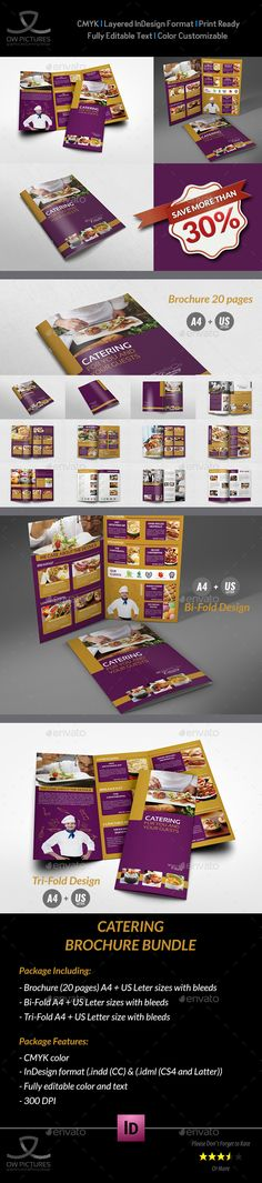 Food Infographic Catering Brochure Template Pages InDesign - Catering brochure templates