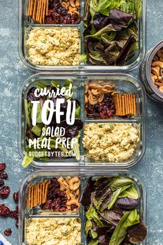 Light, filling, full of texture and flavor, this no-reheat Curried Tofu Salad Meal Prep is the perfect make-ahead lunch for summer! Vegetarian Meal Prep, Lunch Meal Prep, Easy Meal Prep, Healthy Meal Prep, Vegetarian Recipes, Easy Meals, Healthy Recipes, Ketogenic Recipes, Diet Recipes