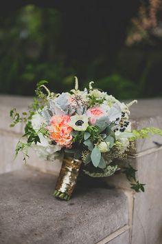 bouquet tied in gold Bouquet Wrap, Paper Bouquet, Diy Bouquet, Bridesmaid Bouquet, Wedding Bouquets, Gold Bouquet, Bridesmaids, Wedding Wishes, Wedding Blog