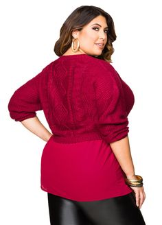 Two-fer Layered Cable Sweater - Ashley Stewart
