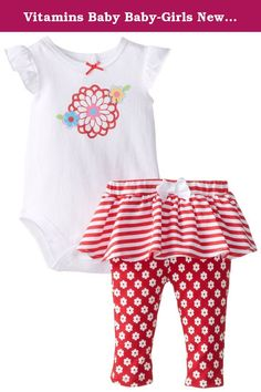 Vitamins Baby Baby-Girls Newborn Flower and Strip 2 Piece Skegging Set, Red, 3 Months. Floral screen printed 2 piece skegging set with flutter sleeve top and stripe and floral printed bottoms.