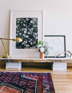 lamp + framed art + rug