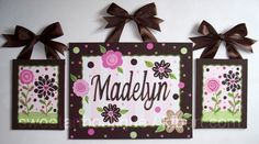 Custom canvas letter name sign wall art nursery kids family hand painted girl set of 3 paintings pink brown flowers dots. $48.00, via Etsy.