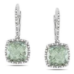 beautiful earrings of cushion cut green amethyst and diamond dangle earrings from Overstock,com!