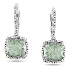 beautiful earrings of cushion cut green amethyst and diamond dangle earrings from Overstock,com!