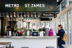 Paris metro meets New York subway at Hyde Park's chic bistro. Vintage Cafe Design, Farm Cafe, Paris Metro, New York Subway, Cafe Food, Saint James, Hyde Park, Saints, Jet Plane