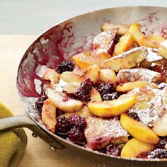 Kaiserschmarrn with Peaches - The Austrian dessert Kaiserschmarrn is a light, eggy pancake, cut up and topped with fruit and confectioners' sugar. We like it for brunch topped with sautéed peaches and ripe berries. What are you having for brunch today? Brunch Recipes, Wine Recipes, Breakfast Recipes, Cooking Recipes, Pancake Recipes, Brunch Foods, Dessert Recipes, Breakfast Bites, Easy Cooking
