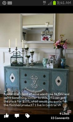 Atta Girl Says: Handpainted Duck Egg Blue Chalk Paint Buffet in Foyer--Looks like my hutch Distressed Furniture, Repurposed Furniture, Furniture Makeover, Diy Furniture, Antique Furniture, Furniture Design, Duck Egg Blue Chalk Paint, Entry Tables, Entrance Table