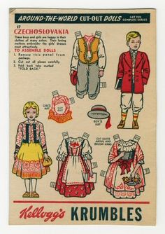 Around-the-World Cut-Out Dolls Czechoslovakia. paper doll ca. Paper Toys, Paper Crafts, Paper Paper, Free Paper, Paper Doll Costume, Folk Costume, Pub Vintage, Costumes Around The World, Paper Dolls Printable