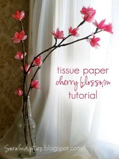 "DIY tissue paper ""Cherry Blossom"" flowers (looks more like Magnolia lol)"