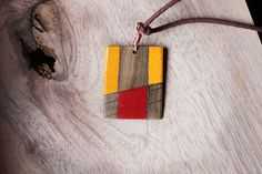 wood necklace wood pendantgeometric di BottegaAmet su Etsy