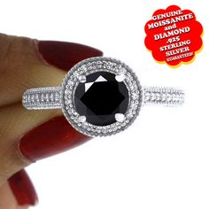 "1.00 Ct Genuine Black Moissanite & Diamond 14K Gold Halo Engagement Ring """". Starting at $39"