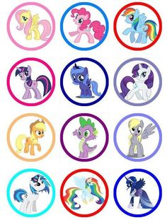 My Little Pony birthday party Edible Image Cake Toppers and Cupcake toppers for your next party. Match ANY theme or print ANY picture. Picture cakes are the easiest way to make a great cake and match your party perfectly. Deco Cupcake, Cupcake Toppers, My Little Pony Cupcakes, Cumple My Little Pony, My Little Pony Birthday Party, My Little Pony Characters, Imagenes My Little Pony, Little Poney, Bottle Cap Crafts