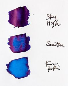 Such pretty fountain pen inks Calligraphy Ink, Beautiful Calligraphy, Pen Sketch, Fountain Pen Ink, Pen And Paper, Sky High, Ink Color, Travelers Notebook, Hand Lettering