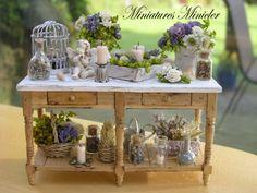 Miniature Dollhouse Gardener Workshop Lavender Theme Shabby Chic Style