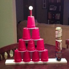 Red Neck Beer Pong Trophy! Just used hot glue to stick it all together.