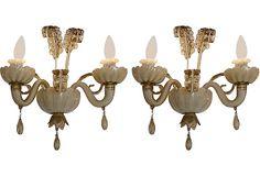 Golden Murano Glass Sconces, Pair on OneKingsLane.com