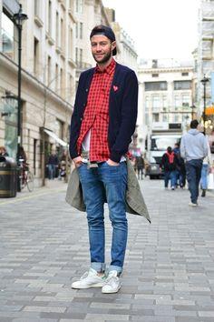 Stan Smith, Denim Jeans, Red Flannel, Back Blazer/Cardigan